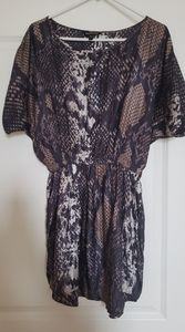 Express Snakeskin Kimono Sleeve Satin Dress Medium